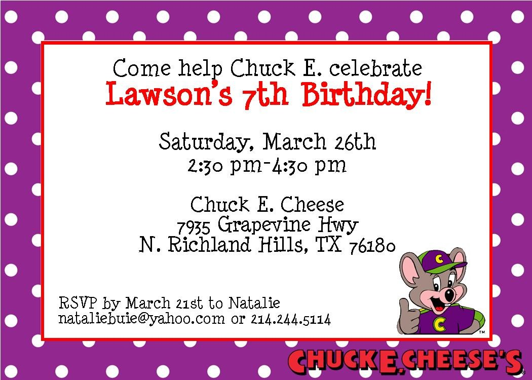 The Buie Blog Lawsons 7th Birthday Party – Chuck E Cheese Birthday Party Invitations