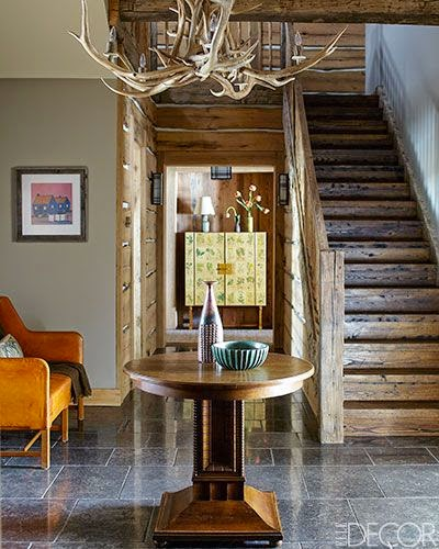 rustic and colorful foyer design