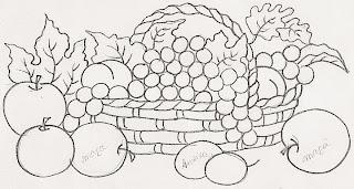 desenho de cesto com frutas