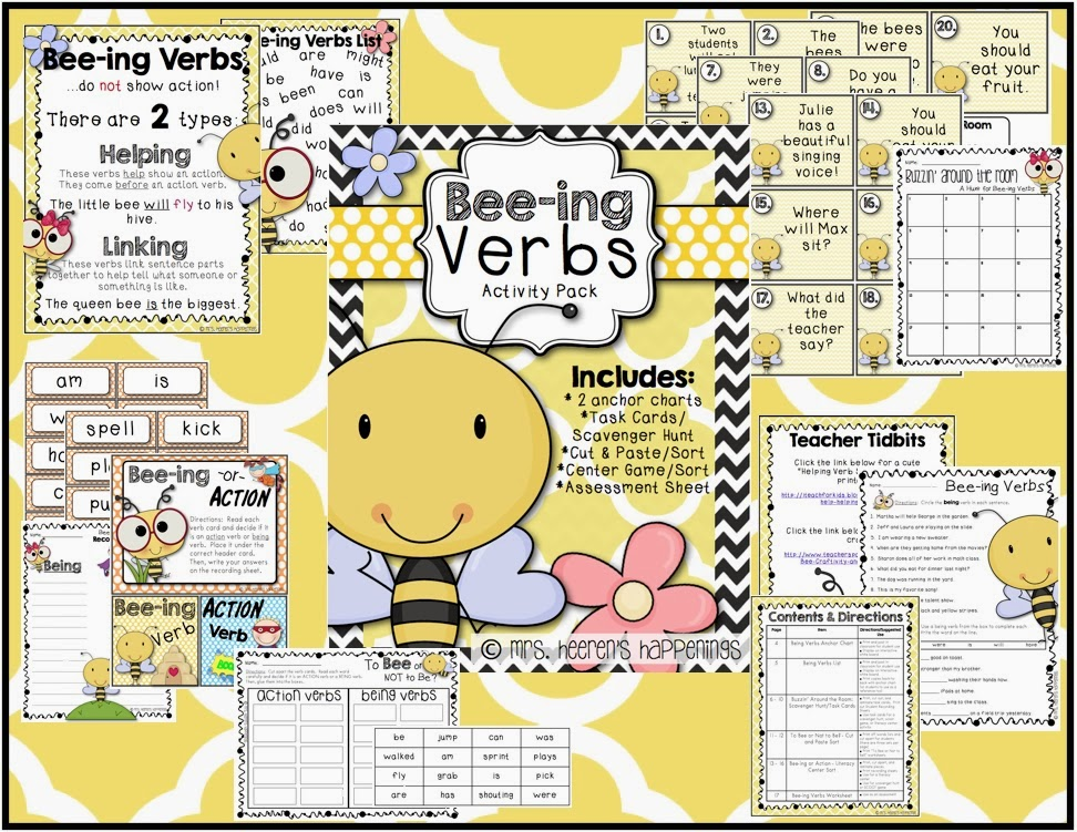 http://www.teacherspayteachers.com/Product/Bee-ing-Verbs-Pack-1066243