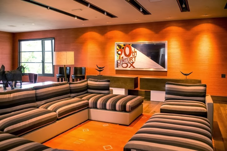 Movie room in Modern mountain house in Aspen, Colorado