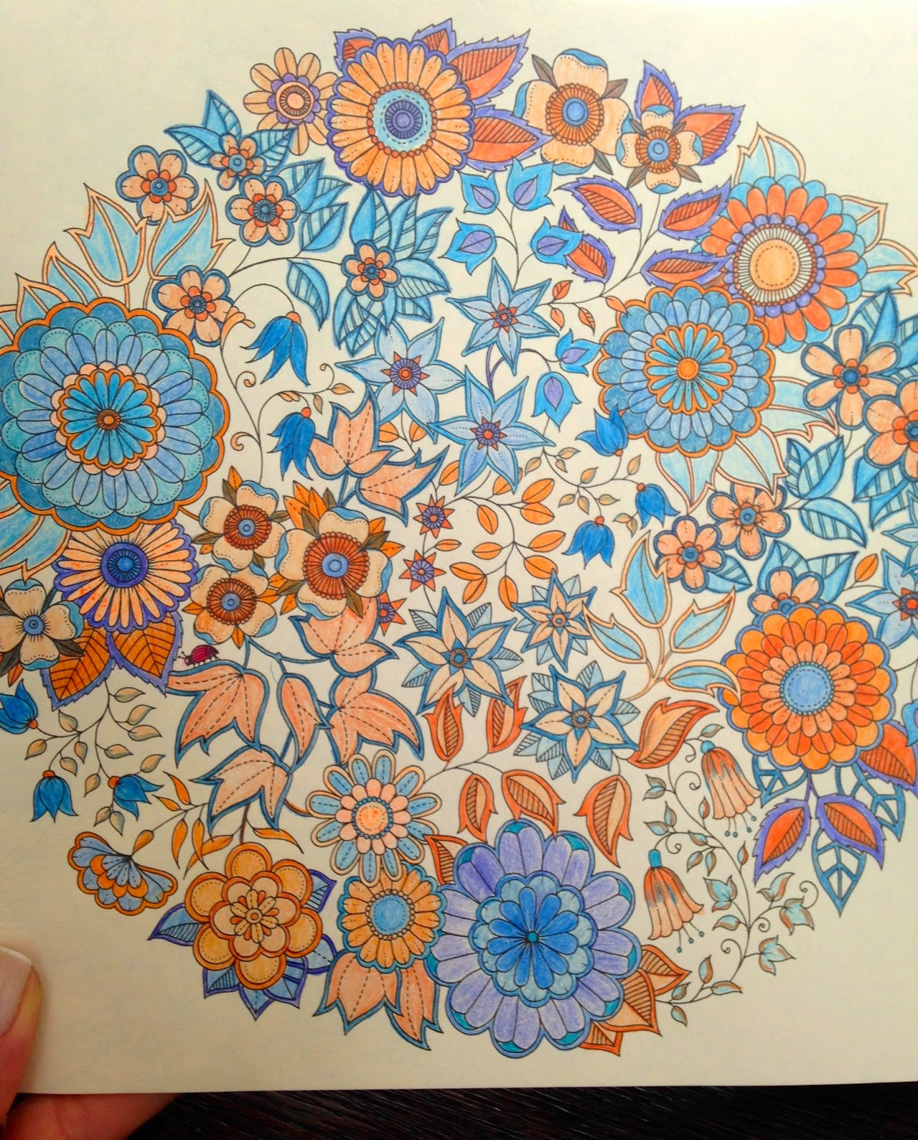 flores em azul e laranja