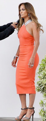 jennifer lopez orange tangerine spring summer 2012 dress