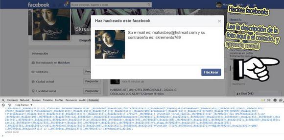 Supuesto perfil de Facebook hackeado
