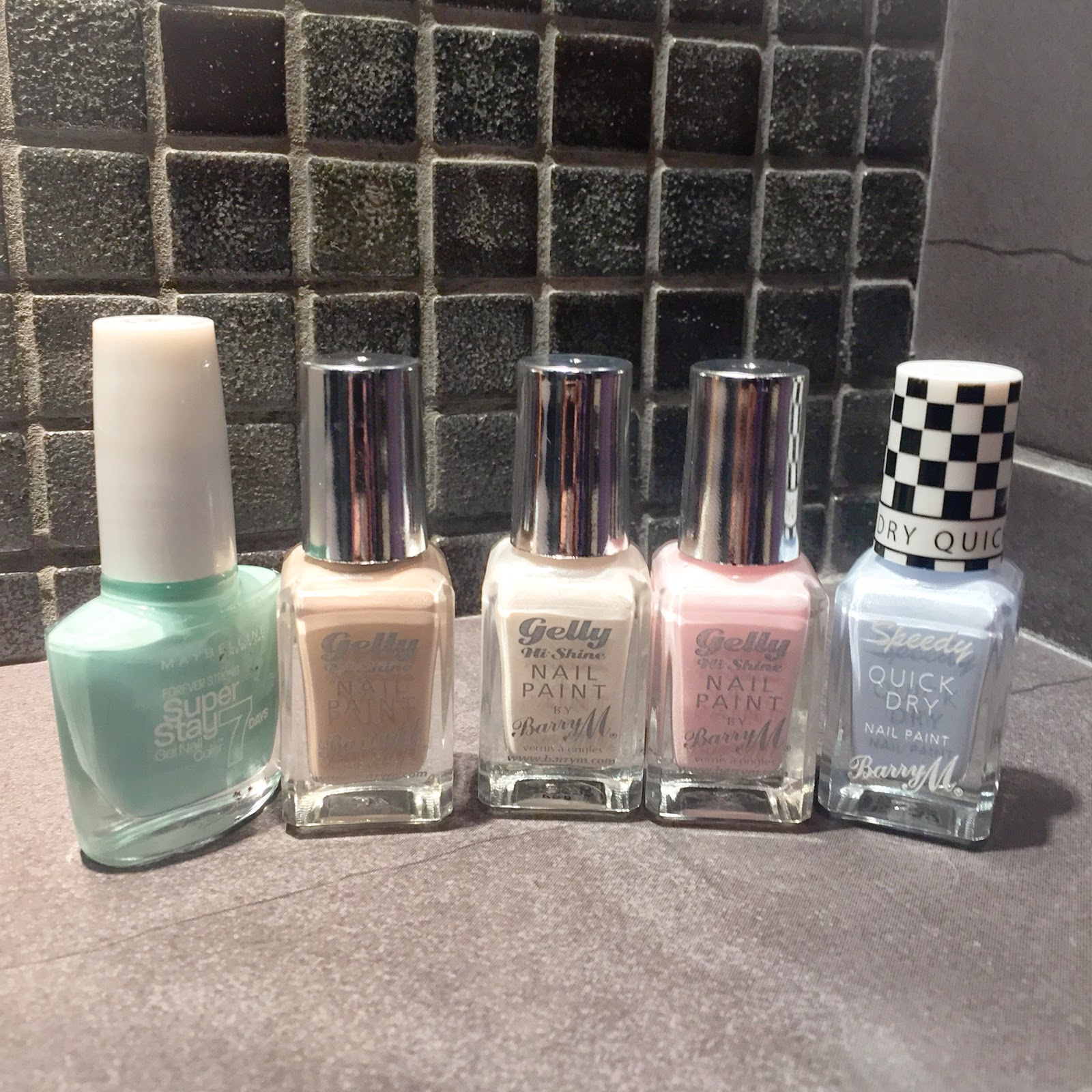 nail polish mint almond coconut rosehip blue barry m maybelline