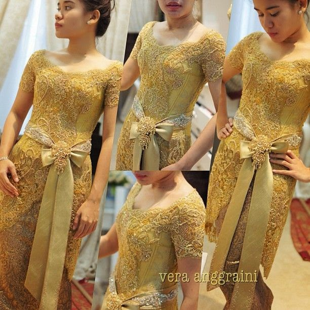sweet+yellow+brocade+kebaya+with+ribbons+vera+kebaya kebaya modern by vera international kebaya batik modern,Model Baju Muslim Vera Kebaya