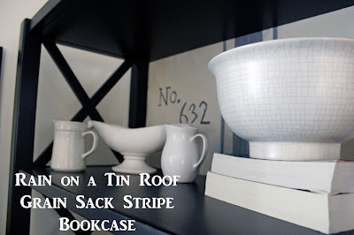 Grain Sack Stripe Bookcase {rainonatinroof.com} #grainsack #stripe #bookcase