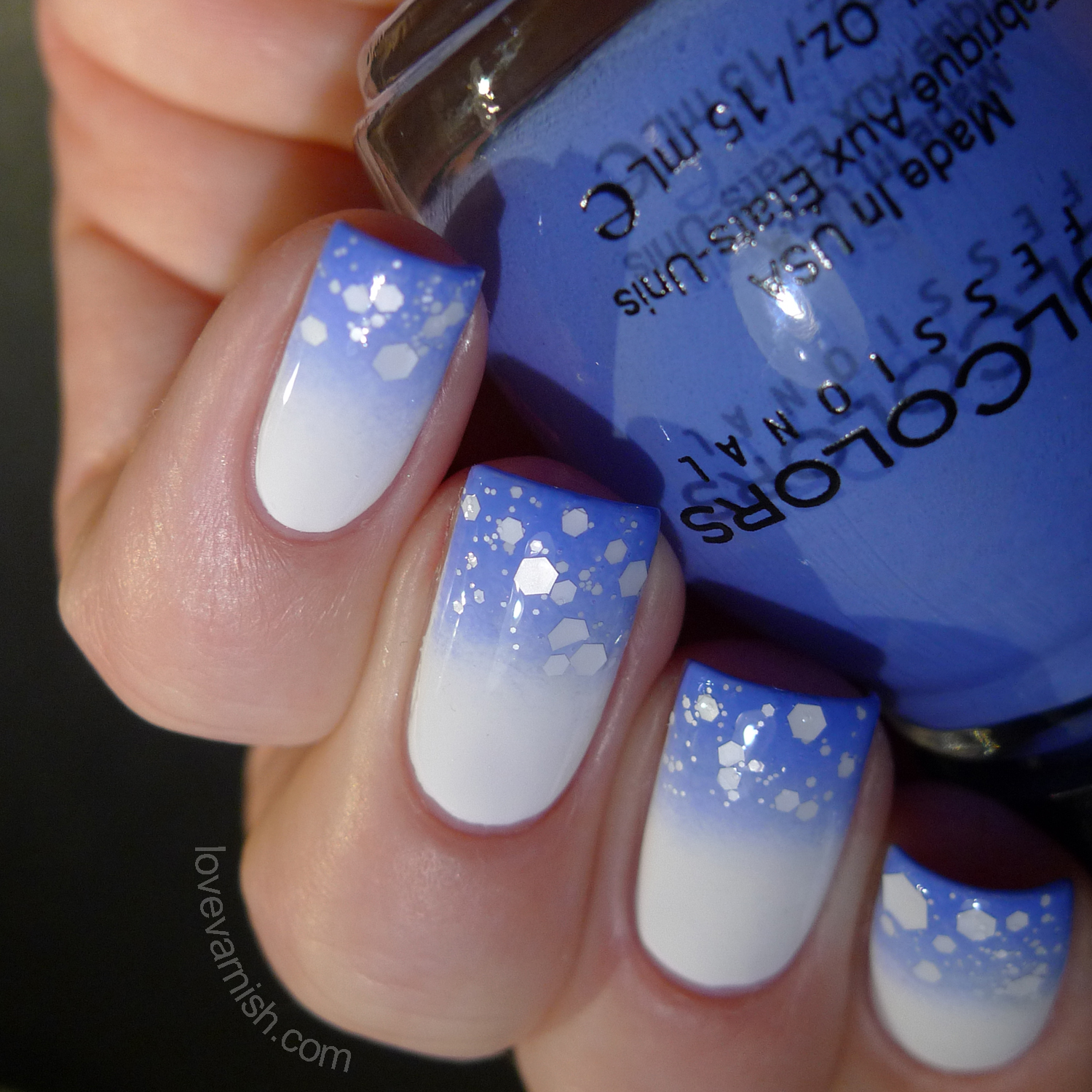 Nailart using Sinful Colors Blue La La