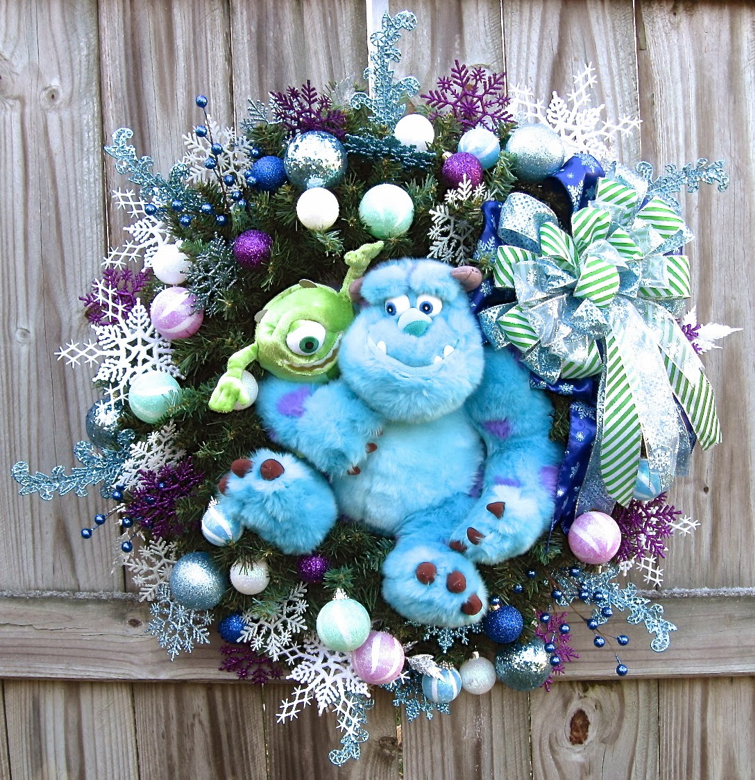 custom order disney monsters inc sulley and mike christmas wreath