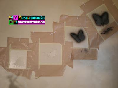 Proceso de plantillas o máscaras para la realización de las mariposas