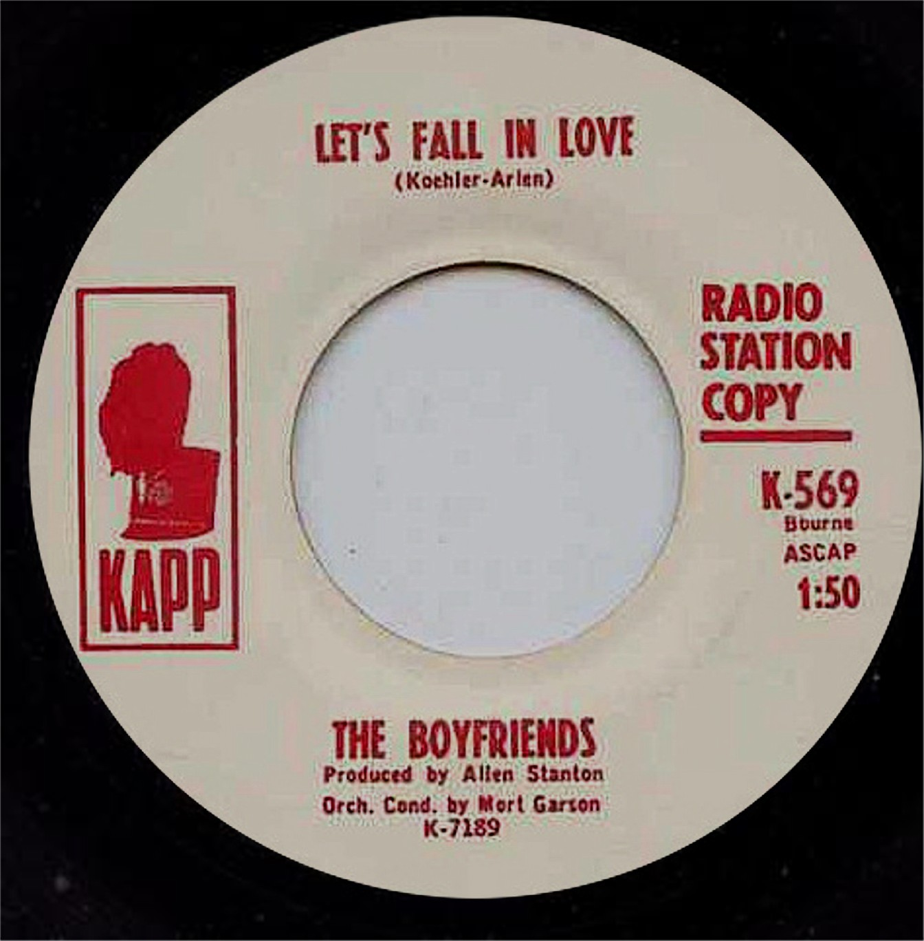 white doo wop collector the boyfriends let s fall in love new members charlie dibella bass and eddie pardocchi on lead from the delvons signed kapp records and recorded let s fall in love oh lana