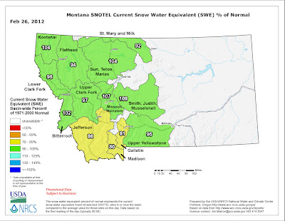 MONTANA SNOTEL Snow Water Equivalent Update 2.26.12