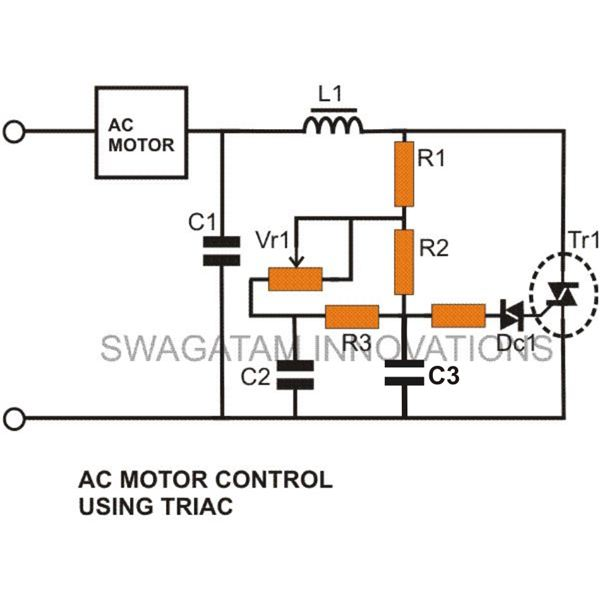 Simple light dimmer switch circuit electronic circuit Speed control for ac motor