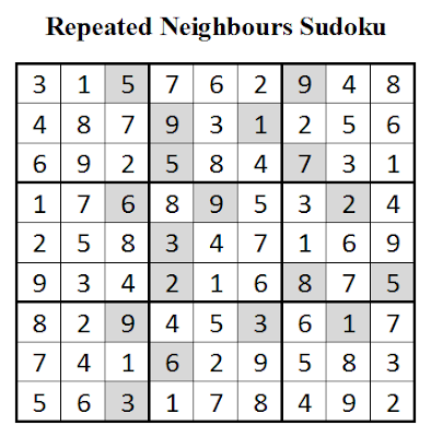 Repeated Neighbours Sudoku (Daily Sudoku League #1) Solution