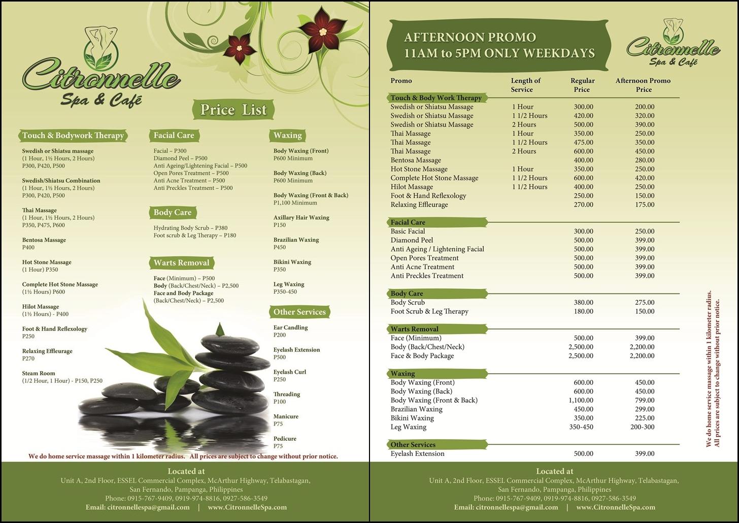 service price list template .
