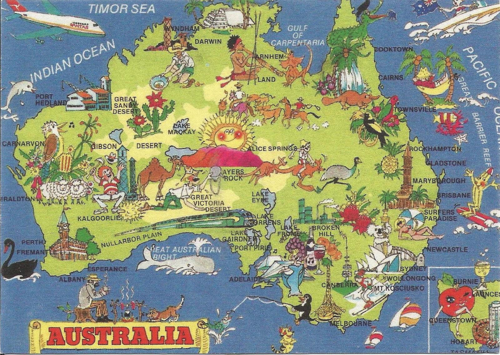 World on my postcards Map of Australia – Explore Australia Map