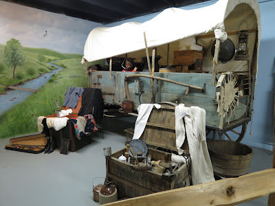 covered wagon exhibit at the Walnut Grove Museum in Minnesota