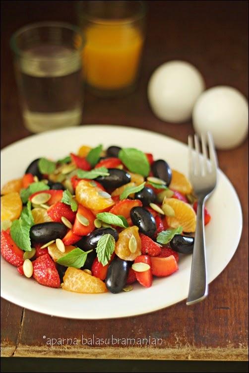 ... Kitchen In India : Grape, Strawberry & Mandarin Orange Salad With Mint