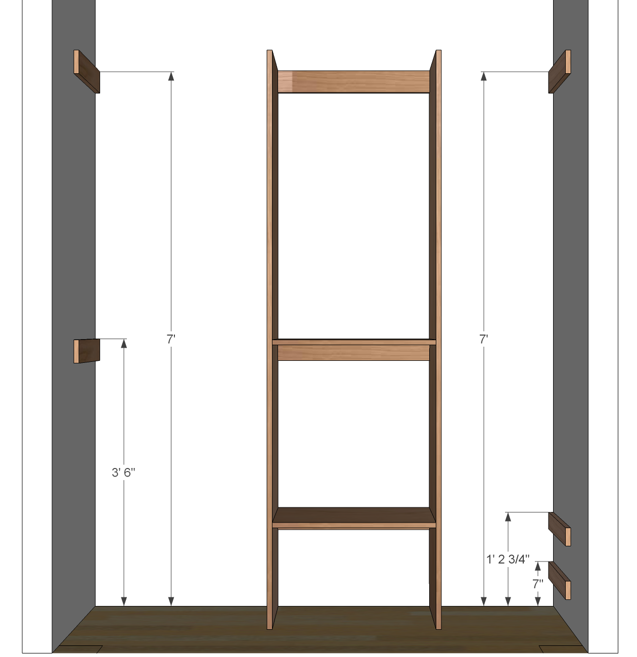 Diy closet organizer plans for 5 39 to 8 39 closet for How to build a walk in closet step by step