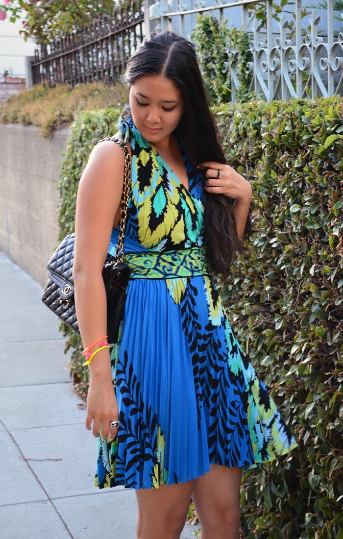hale bob blue print dress