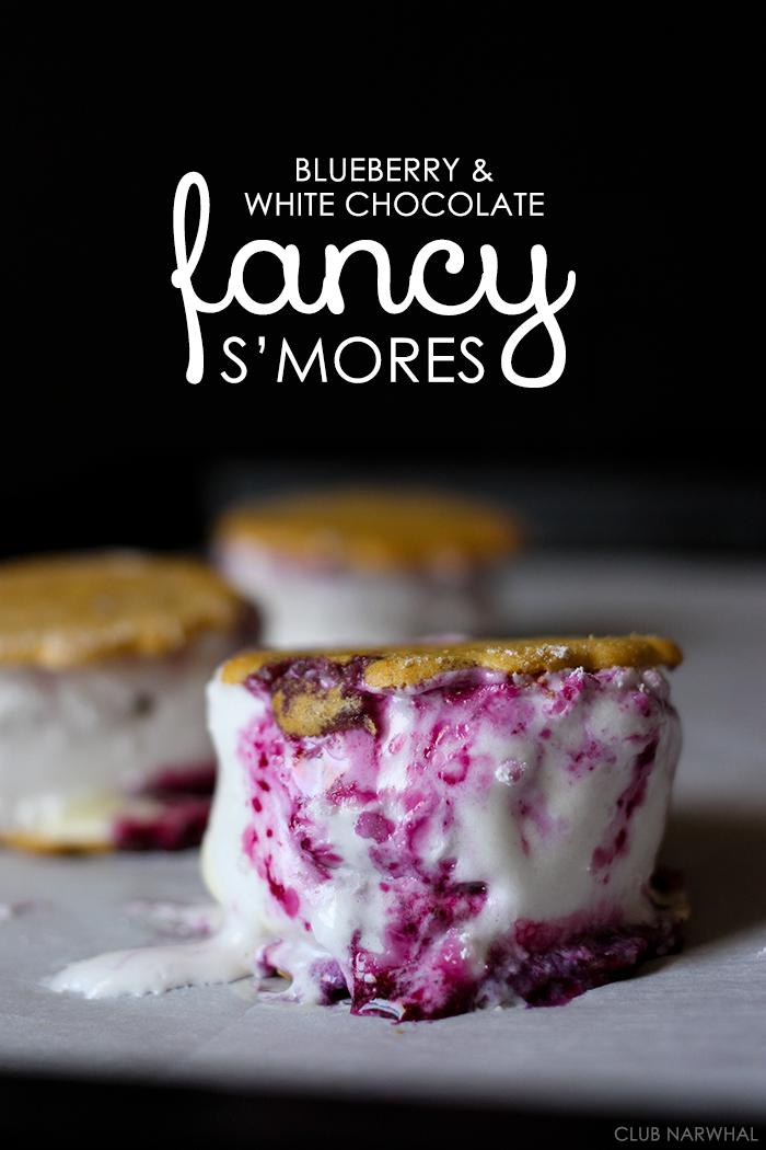 Blueberry and White Chocolate Fancy S'mores | Club Narwhal