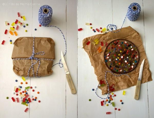 pizza de chocolate y gominolas