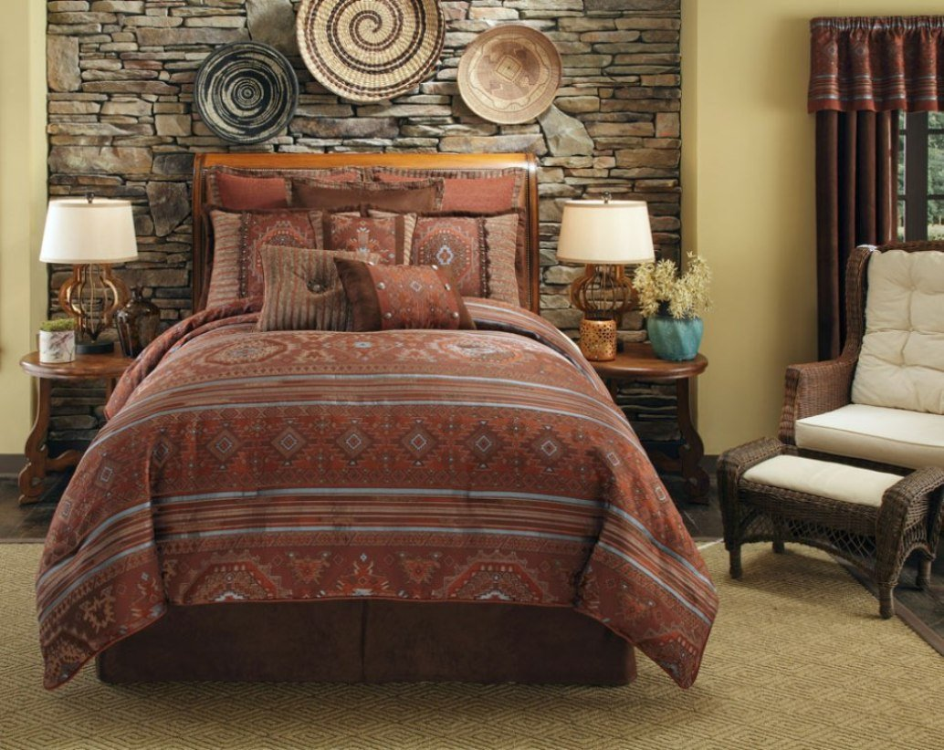 Southwest style comforters and native american indian for Designer inspired bedding