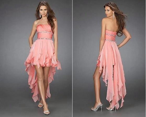 modelo de vestido de 15 anos mullet salmão
