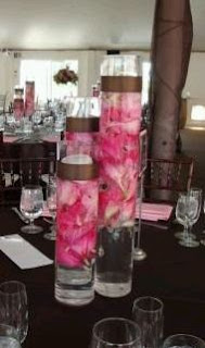 Decoracion con Flores Sumergidas Rosadas, Centros de Mesa