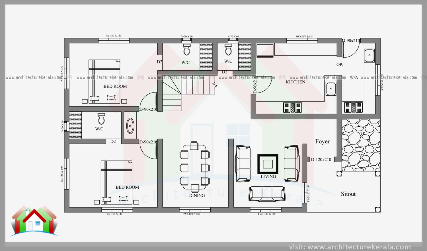 Double storied four bedroom house plan and elevation architecture kerala - Four bed room house plans ...