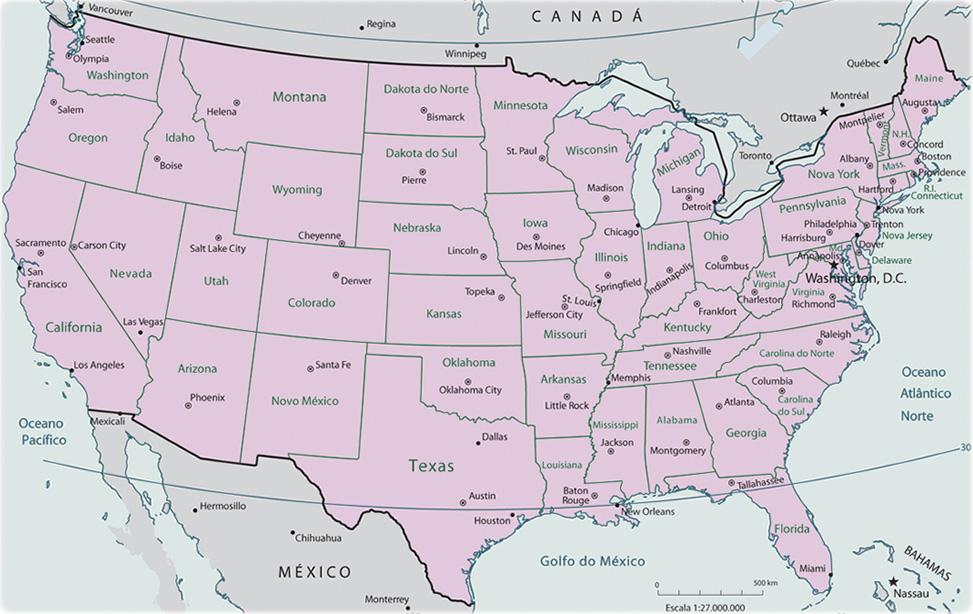 Mapa del País Estados Unidos