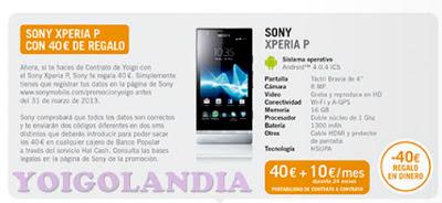50 euros de regalo al comprar Sony Xperia P con Yoigo en febrero 2013