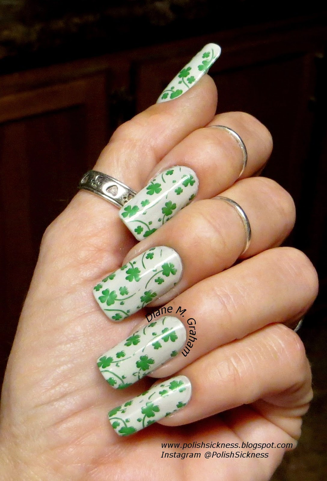 Essie Absolutely Shore, Barielle Date Night, FUN 13 shamrock stamp, St. Patrick's