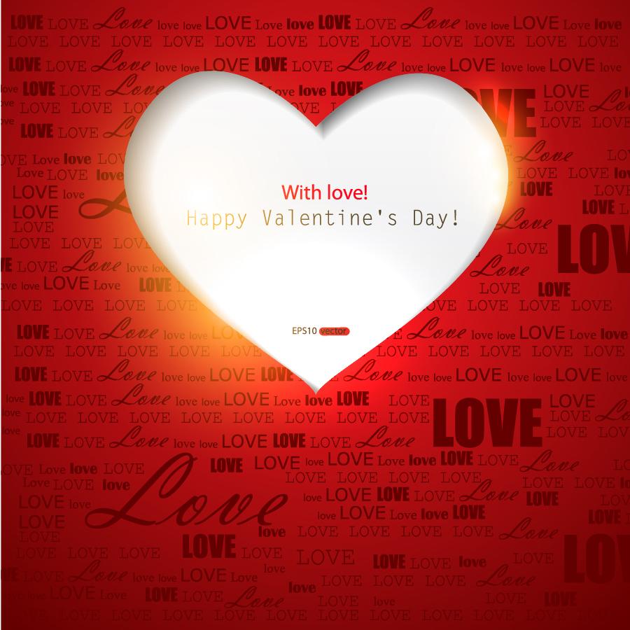 ハート型に切り抜いたバレンタインデーの背景 Valentine's Day greeting cards イラスト素材