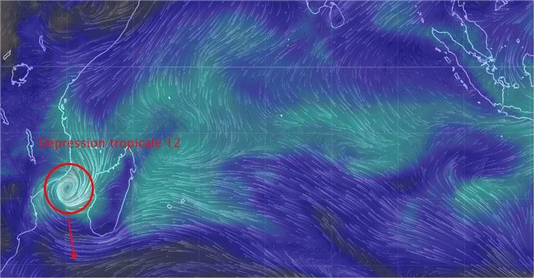Situation et trajectoire de la dépression tropicale 12