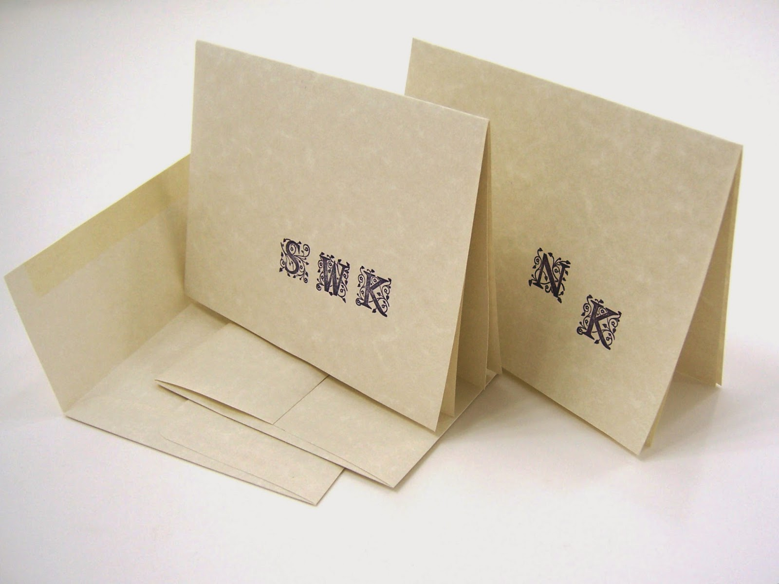 Personalized hand stamped monogram cards