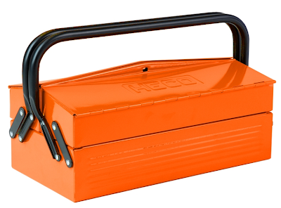 metal tool box, orange