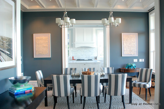 DIY linen and paper wall art in the dining room by Stay At Home-ista