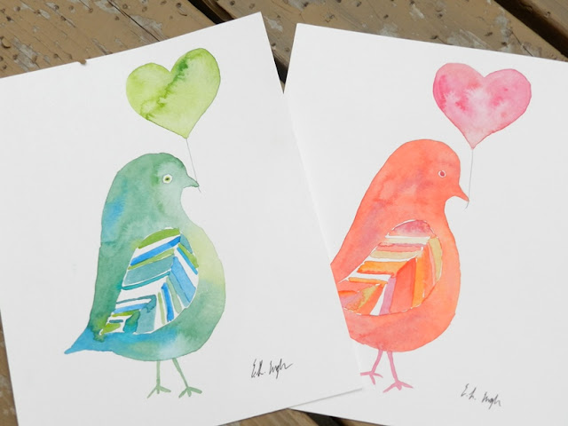 Watercolor Pigeons with Hearts