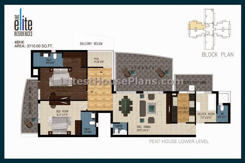 4 bhk duplex pent house floor plan in 2365 sqft area for 5 bhk duplex floor plan