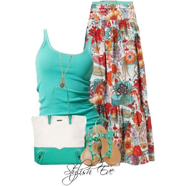 Beautiful Floral Print Maxi Skirt Outfit