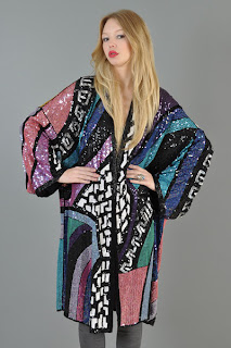 Vintage 1980's multi-colored sequined large kimono trophy jacket