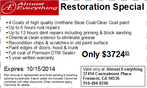 Coupon Almost Everything Restoration Special Septemter 2014