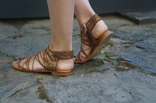 Jeweled heel, layered gladiator sandals with side zipper in brown. Bought at Artifacts, Port Carling, Ontario, Shopping in Muskoka. These are new Muskoka Shoes.
