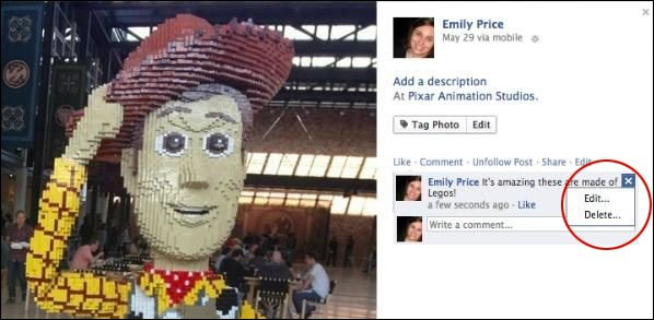 Facebook une fonction d'édition des commentaires