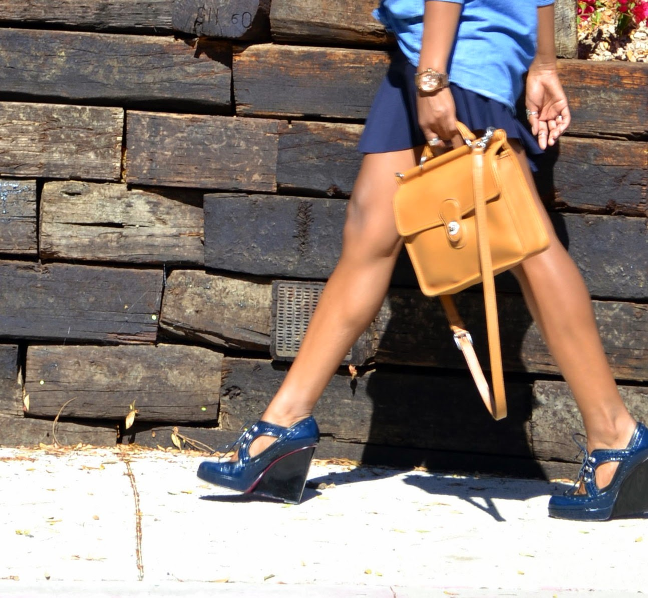 Wearing Coach bag and Betsey Johnson wedges