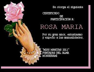 CERTIFICADO DE MISS MANITAS 2011