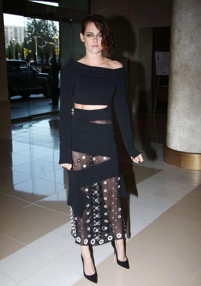 Kristen Stewart in an off shoulder dress at The Women in Film 2015 Crystal + Lucy Awards