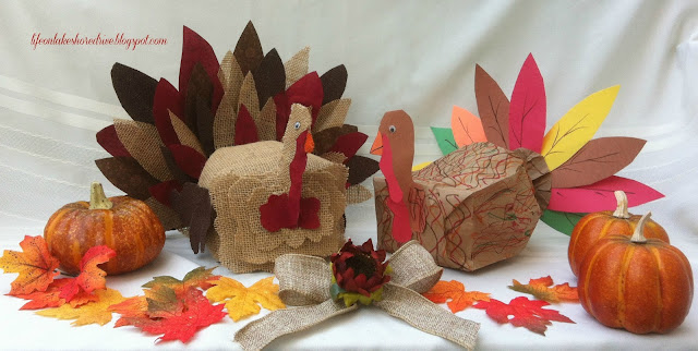 "alt=""Kid's Craft Paper Bag Turkey  and burlap and fabric turkey feathers using fabric stiffener tutorial how-to"""