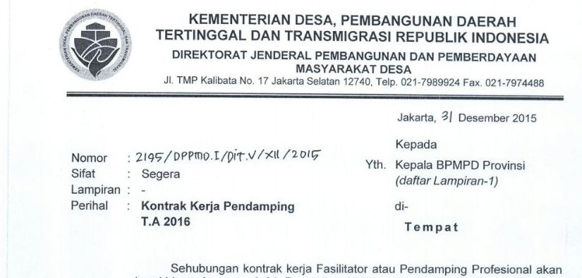 Kontrak Kerja Penugasan Tenaga Ahli Dan Pendamping Desa ...